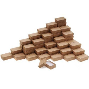 Beadaholique Kraft Brown Cardboard Jewelry Boxes (100 Pack), 2.5 x 1.5 x 1""