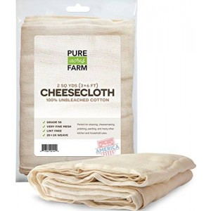 Pure Cheesecloth - 18 Sq Feet: Grade  50 - 100% Unbleached Cotton - Filter - Strain - Reusable