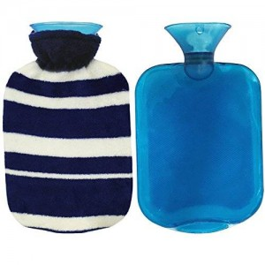 NewCool 1.8 Quarts Rubber Hot Water Bottle Premium Classic Transparent Hot Water Bottle with Fleece Cover
