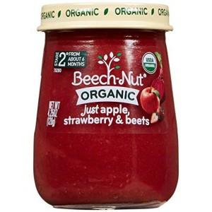 Beech-Nut Just Organic Stage 2 Purees - Just Apple, Strawberry and Beets - 4.25 Oz - 10 pk