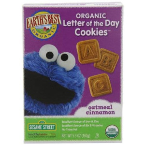 Earth's Best Organic Letter of the Day Cookies, Oatmeal Cinnamon, 5.3 Ounce (Pack of 6)