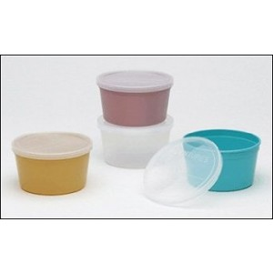 McKesson Denture Cup with Lid - Turquoise, set of 2