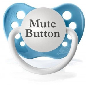 Personalized Pacifiers Mute Button Pacifier (Baby Blue)