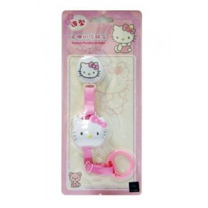 Hygienic Baby Pacifier Clip Leash Holder w/ Cover in Hello Kitty for Girl or Simba Lion for Boy (Safe: No Metal Clips) (Hello Kitty)