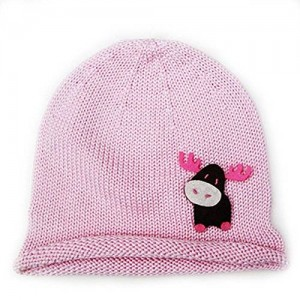 Twinklebelle Cute Baby Beanie Hat 0-6m Soft Luxurious Cotton Knit - Moose: Pink Hat