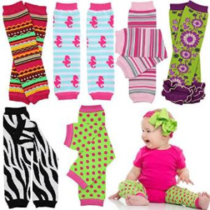 6 Pack Baby and toddler Girls juDanzy leg warmers dots, zebra, stripes, etc