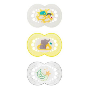 MAM Day and Night Silicone Orthodontic Pacifiers Set 6+, Pack of 3