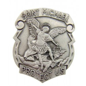 Religious Gifts Catholic Gift Archangel Saint St Michael Police Badge Travel Protection Auto Car Visor Clip