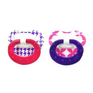 NUK Natural Shape Fashion Patterns Orthodontic Pacifier- 2 Pack-Girls (0-6 Months)- Color and Styles May Vary