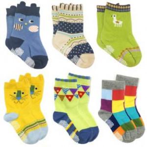 Wrapables Peek A Boo Animal Non-Skid Toddler Socks (Set of 6)