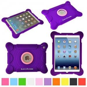 suchAcase Kids Friendly Child Safe Light Weight Protective Silicone Case for Apple iPad 2 3 4 (Purple)
