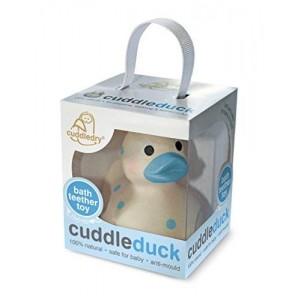 Cuddledry Cuddleduck Natural Rubber Ducky Baby Safe Bath Toy (Blue)