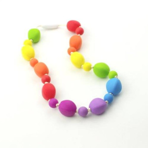 Silicone Oral Sensory Autism Chewable Necklace Child Size 18'' - Bitey Beads (Rainbow)