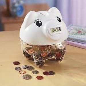 Gift Depot Digital Piggy Coin Counting Bank - White