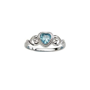 Precious Pieces Sterling Silver Baby Ring and March Birthstone Ring with Aquamarine CZ