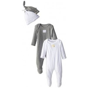 Burt's Bees Baby Boys' Organic Four-Piece Footed Coverall and Knot Cap Set