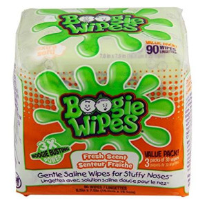 Boogie Wipes Saline Nose Wipes Fresh Scent 90 Count