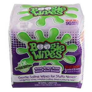 Boogie Wipes Saline Nose Wipes Grape Scent 90 Count