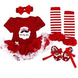 TANZKY Baby Girls' Christmas Santa Costume Headband Legging Shoe 4PCS