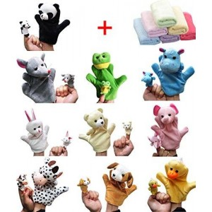 Moolecole 20pcs Velvet Animal Style Hand and Finger Puppets Set with 1pc Bamboo Baby Washcloth