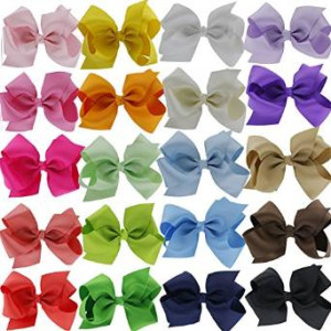"QingHan 4.5"" Baby Girl Grosgrain Ribbon Headbands Boutique Hair bows Alligator Clips For Teens Kids 20pcs"