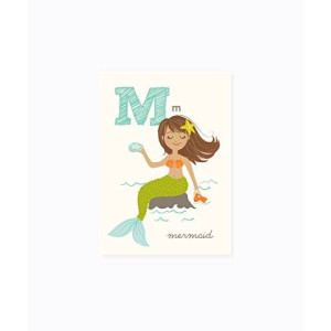 Sea Urchin Studio ABC Wall Art for Kids, M/Mermaid