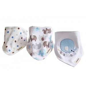 Joy Baby Super Absorbent Pure Cotton Stylish Bandana / Dribble Bib for Babies and Toddler (Elephant (3Pack))