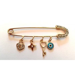 Fortis Production Elegant Handmade Golden Safety Pin with Good Luck Charm Pendants. Perfect Gift for Family and Friends
