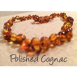 Baltic Essentials Baltic Amber Teething Necklace 12.5 Inches for Babies (Unisex) (Cognac Brown Honey) - Baby