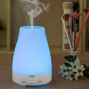 Amir Aromatherapy Ultrasonic Cool Mist Aroma Humidifier with Color LED Lights Changing and Waterless Auto Shut-off Fuction