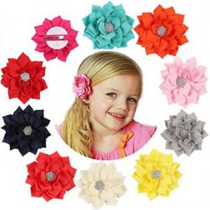 Qandsweet Baby Girl Hair Clips with Jeweled Flower