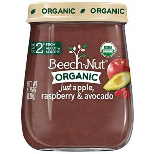 Beech-Nut Just Organic Stage 2 Purees - Just Apple, Raspberry and Avocado - 4.25 Oz - 10 pk