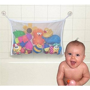 ZeroShopToys Baby Bath Toy Organizer Toy Tidy Storage with 2 Strong Hooked Suction Cups - White