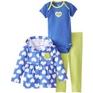 Gerber Baby Girls' 3 Piece Hooded Jacket Bodysuit and Pant Set
