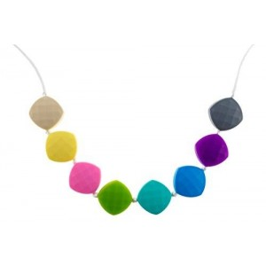 Chew-Choos 'Sweet pea' Silicone Teething Necklace (Pastel Rainbow)