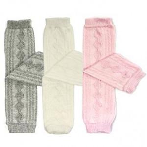 Bowbear 3 Pair Little Girls Cable Knit Argyle Leg Warmers