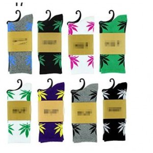 Plceo 5 Pair Marijuana Weed Leaf Printed Cotton High Socks (Mix Color)