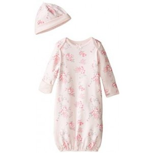 Little Me Baby-Girls Newborn Scroll Rose Gown and Hat