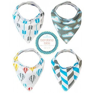 Kaydee Baby Bandana Drool and Dribble Bibs with Adjustable Snaps for Girls and For Boys (Dreaming) Set of 4 with Gift Bag