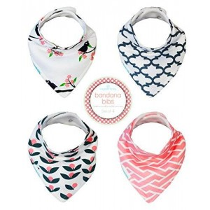 Kaydee Baby Modern Bandana Drool and Dribble Bibs for Girls (Birds) 4 Pack Gift Set with Bag