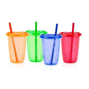 Nuby Stackable Wash or Toss Straw Cups, 4 Count