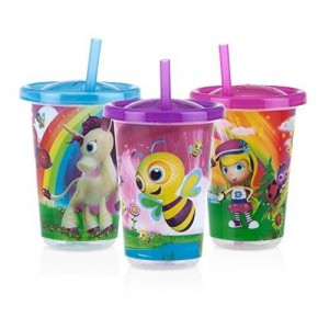Nuby Stackable Printed Wash or Toss Straw Cups, 3 Count
