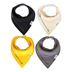 Matimati Baby Bandana Drool Bibs With Snaps For Boys and Girls - Super Absorbent, Soft, and Modern Pack of 4 (Solid Arrow Unisex)