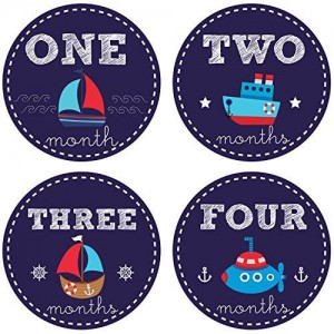 Pinkie Penguin Baby Monthly Stickers - Nautical Theme - Sailboat Baby Boy Stickers - 1-12 Months - Milestone Onesie Stickers - Baby Shower Gift