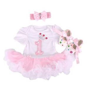 Marlegard Baby Girls' 3PCs 1st Birthday Crown Tutu Dress Headband Shoes for 12M