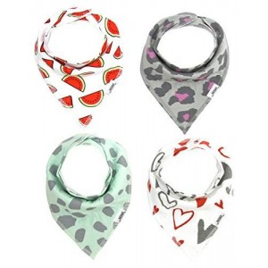 Matimati Baby Bandana Drool Bibs with Snaps for Girls | 4-Pack Absorbent Cotton | Cute Baby Gift (Hearts and Watermelons)