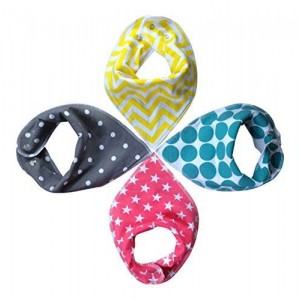 BaSonny Baby Sonny Bandana Drool Bibs (4 Pack) Super Absorbent so Perfect for Teething,Fashionable Prints,Cute Gift.