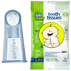 BaBuddy Baby Buddy Wipe N Brush Silicone Toothbrush and Dental Wipe Assistant, Blue