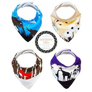 Kaydee Baby Best Bandana Drool and Dribble Bibs with Adjustable Snaps for Girls and For Boys (Woodland Animals) Set of 4 with Gift Bag