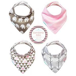 Kaydee Baby Best Bandana Drool and Dribble Bibs with Adjustable Snaps for Girls (Elephants) Set of 4 with Gift Bag